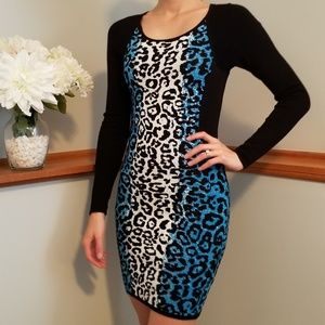 GUESS, short dress with long sleeves, animal print